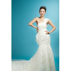 Dedicate One Shoulder Mermaid/ Trumpet Lace Satin Beaded Chapel Train Floor Length Wedding Dresses