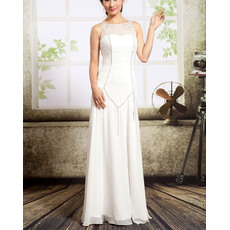 Stylish Chic Illusion Neckline Full Length Ivory Chiffon Evening Dresses with Side Shirred Detail