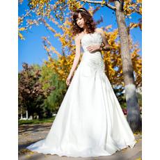 Fabulous Vintage Satin A-Line Strapless Applique Beaded Floor Length Wedding Dresses