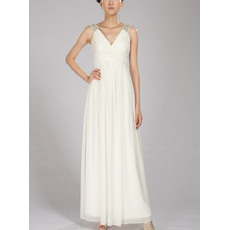 Concise Beaded Wide Straps V-Neck Ankle Length Pleated Chiffon Dresses for Summer Wedding/ Ivory Beach Maternity Bride Gowns