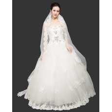 Gorgeous Ball Gown Strapless Floor Length Organza Beaded Wedding Dresses