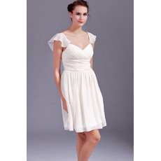 Pretty Sheath Chiffon Cap Sleeves Sweetheart Short Beach Wedding Dresses