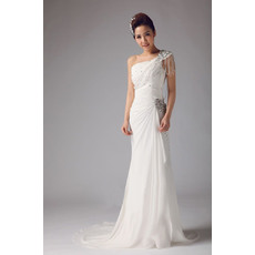 Inexpensive Column/ Sheath One Shoulder Chiffon Floor Length Sheath Wedding Dresses