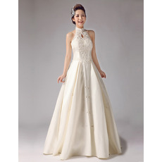Special Mandarin Collar A-Line Floor Length Satin Wedding Dresses