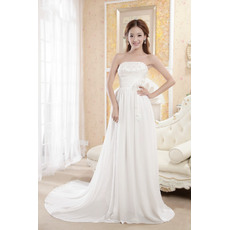 Formal Chiffon Strapless A-Line Floor Length Beaded Empire Wedding Dresses