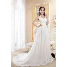 Ethereal Halter Neck A-Line Court Train Chiffon Wedding Dresses with Rhinestone Detail