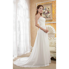 Ethereal Beaded Bodice A-Line Sweetheart Court Train Chiffon Wedding Dresses