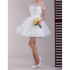 Concise Short Sleeves Organza A-Line Short Reception Wedding Dresses
