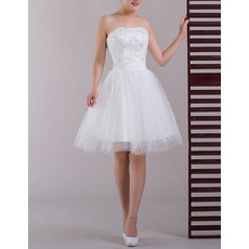 Custom A-Line Strapless Satin Organza Short Beach Wedding Dresses