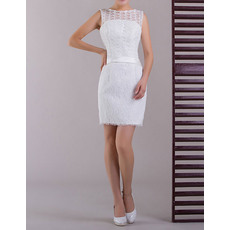 New Style Lace Column Mini/ Short Summer Beach Wedding Dresses