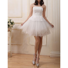 Beautiful A-Line Strapless Satin Organza Short Reception Wedding Dresses