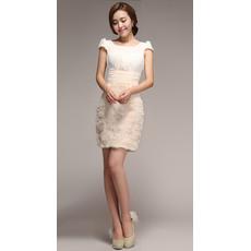 Cute Column Short Beach Wedding Dresses with Floral Lace Skirt