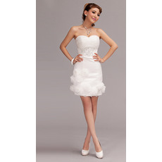 Charming Sweetheart Sheath Short Beaded Beach Wedding Dresses with Hand Made Flower/ Lovely Cute Reception Bride Gowns