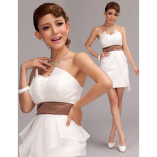 Lovely Column Strapless Satin Organza Belt Short Beach Wedding Dresses