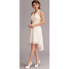 Nice A-line Halter Chiffon Asymmetric Short Beach Wedding Dresses