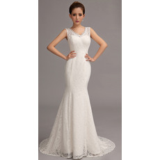 Simple and Elegant Mermaid V-Neck Floor Length Lace Wedding Dresses