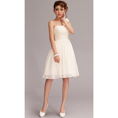 Cute One Shoulder Chiffon A-Line Short Beach Wedding Dresses