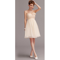 Newest Discount A-Line Sweetheart Chiffon Mini Summer Beach Wedding Dresses