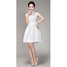 Cute Mandarin Collar Lace A-Line Short Reception Wedding Dresses