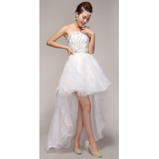 Nice A-Line Asymmetric High-Low One Shoulder Organza Dresses for Spring Wedding