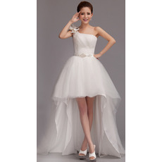 Pretty High-Low One Shoulder Tulle Wedding Dresses with Crystal embellished waistline