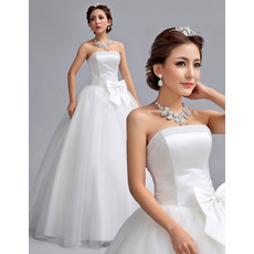 Simple and Elegant Beaded Strapless Ball Gown Tulle Skirt Wedding Dresses with Satin Bodice
