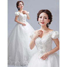 Gorgeous Princess Rhinestone Beading V-Neck Full Length Ball Gown Tulle Wedding Dresses