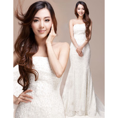 Formal Lace Mermaid/ Trumpet Strapless Floor Length Wedding Dresses
