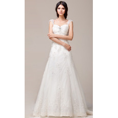 Discount Straps A-Line Floor Length Satin Organza Beaded Wedding Dresses