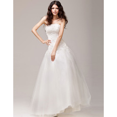 Modern and Romantic Beading Appliques A-Line Strapless Brush Train Tulle Wedding Dresses