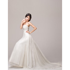 Excellent A-Line Strapless Floor Length Satin Organza Applique Wedding Dresses