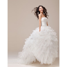 Romantic and Sophisticated Ball Gown Beaded Strapless Organza Wedding Dresses with Breathtaking Layered Skirt