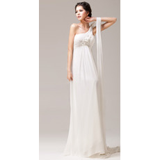 Sexy Empire One Shoulder Chiffon Beaded Full Length Wedding Dresses/ Ivory Ruched Bodice Bride Gowns for Summer Beach