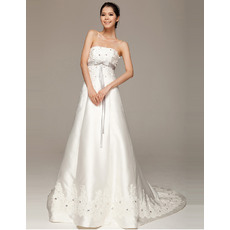Attractive Satin Strapless A-Line Floor Length Wedding Dresses for Spring