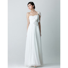 Affordable Sheath Full Length One Shoulder Chiffon Wedding Dresses with Beaded Detail