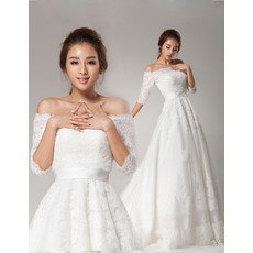 Exquisite A-Line Off-the-shoulder Lace Appliques Tulle Wedding Dresses with Half Sleeves
