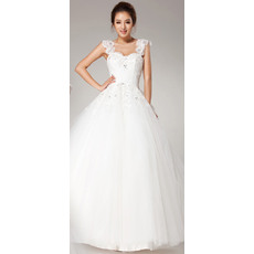 Pretty Wide Straps Lace Appliques Ball Gown Tulle Wedding Dresses with Beading Detail