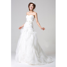 Popular Satin Organza Floor Length Sweetheart A-Line Wedding Dresses