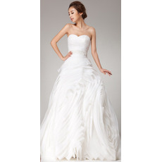 Stunningly Sweetheart Floor Length Organza Wedding Dresses with Layered Ruffled skirt