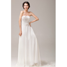 Beautiful and Elegant Chiffon Sheath Strapless Floor Length Dresses for Spring Wedding