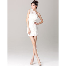 Sexy Column/ Sheath One Shoulder Sheath Chiffon Short Beach Wedding Dresses