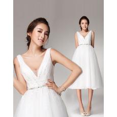 Affordable A-Line V-Neck Knee Length Satin Organza A-Line Short Reception Wedding Dresses