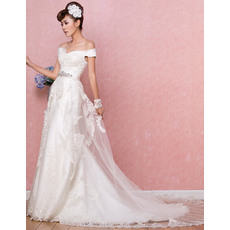 Fabulous Column/ Sheath Off-the-shoulder Brush/ Floor Length Embroidery Satin Wedding Dresses