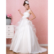 Modern One Shoulder Floor Length Satin Wedding Dresses with Layered Draped High-Low Skirt
