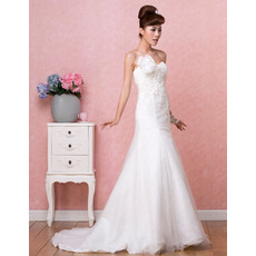 Delicate Beading Appliques Sweetheart Sweep Train Tulle Wedding Dresses with Modified Bow Detail