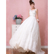 Romantic A-Line Round Neck Full Length Appliques Beading Tulle Wedding Dresses/ Low Back Bride Gowns for Spring and Fall