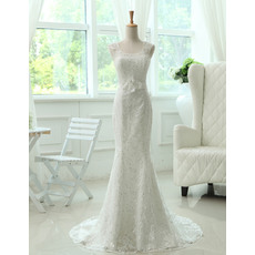 Classic Scoop Neck Mermaid Lace Wedding Dresses with Dramatic Open Back