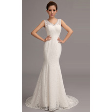 Discount Simple Mermaid Double V-Neck Sleeveless Court Train Lace Wedding Dresses