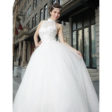 Dramatic High Neckline Ball Gown Tulle Wedding Dresses with Lace Bodice and Beading Detail
