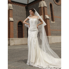 Inexpensive Mermaid/ Trumpet Off-the-shoulder Beaded Floor Length Organza Satin Wedding Dresses